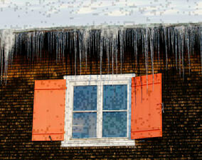 Hut window with icicles
